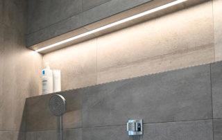 niche murale de douche avec led