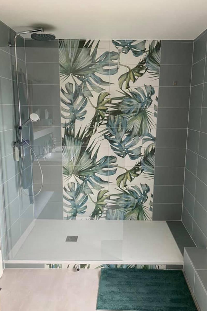 salle de douche - mosaïque douche verte & feuilles